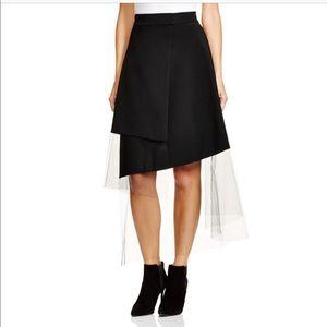 DKNY black wrap skirt with illusion hem